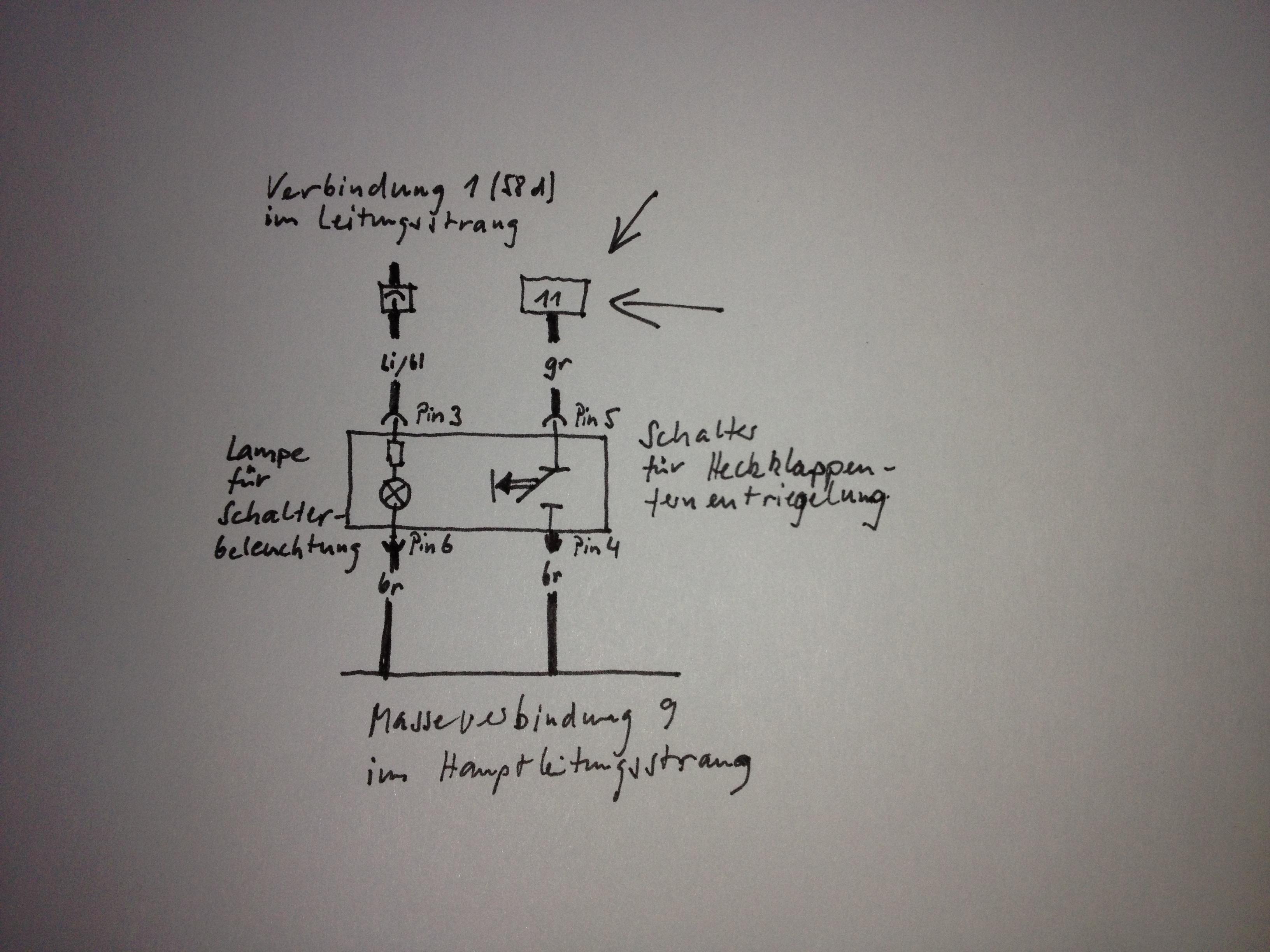 Nachrüstung automatische Heckklappe Superb II Stromlaufplan 155/2